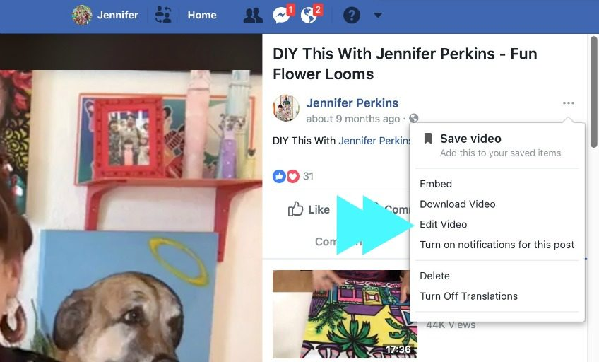 How to edit the info in your Facebook Live video.