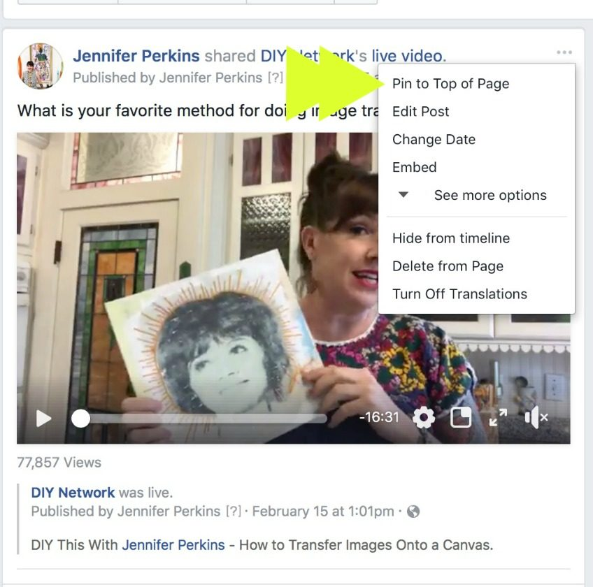 Pin your Facebook Live video to the top of your page.