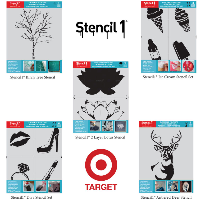 Stencil1 stencils on shelves at Target