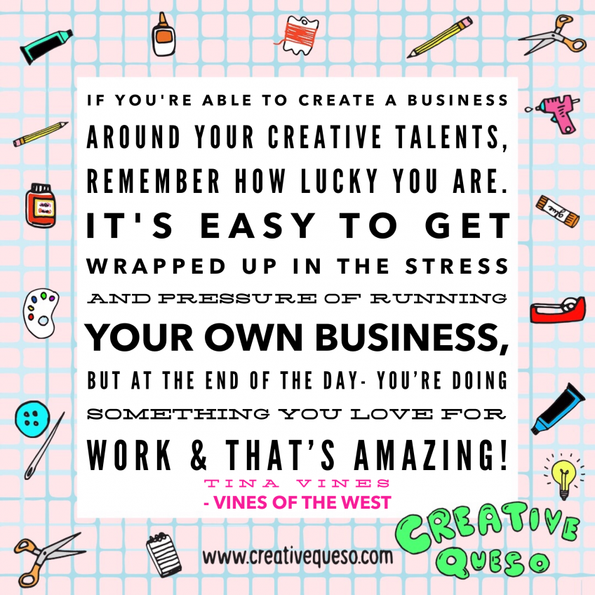Quote from chainstitch artist Tina Vines about business.
