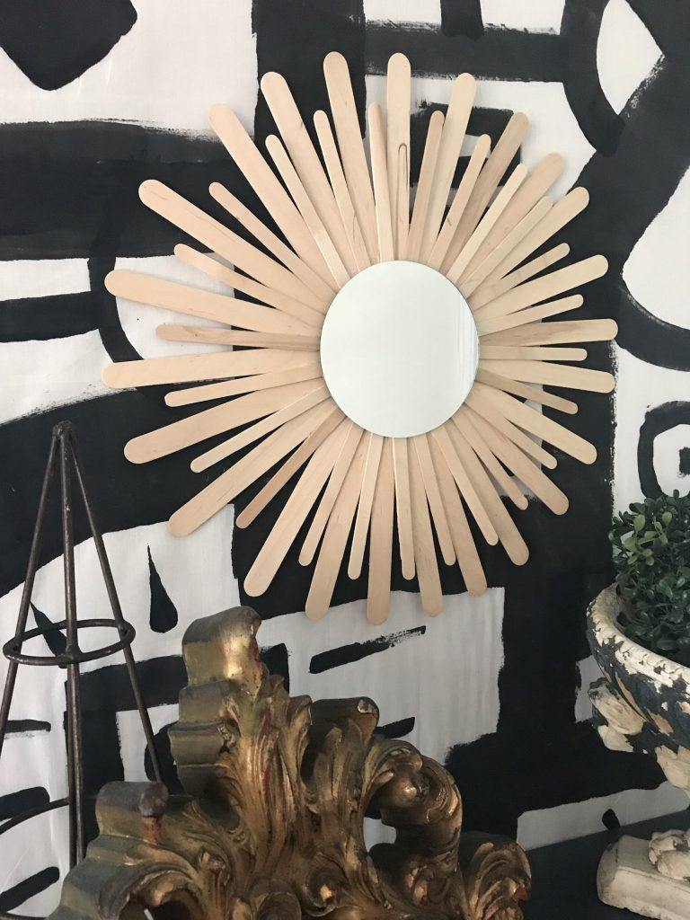 DIY starburst mirror made with paint sticks by Mark from Slumbering Alligator