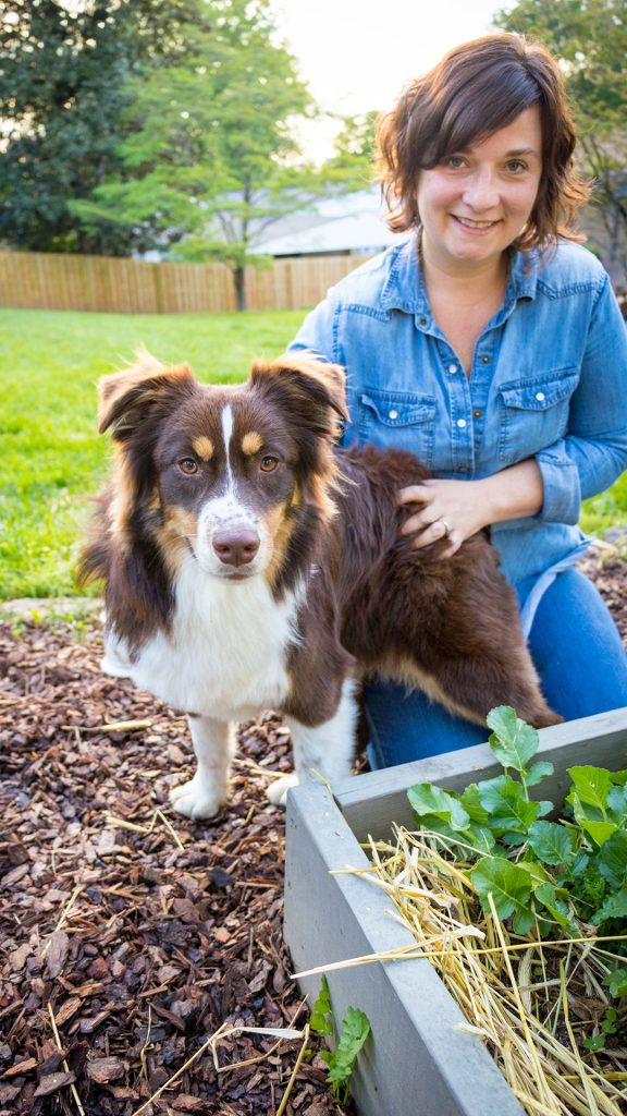 Rufus the dog with his owner gardener and author Kelly Smith Trimble